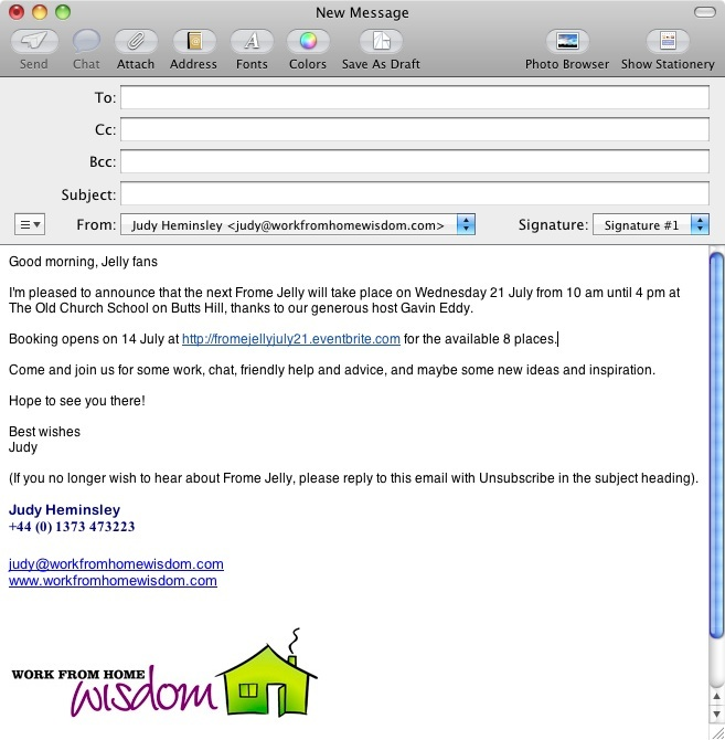 Jelly email samples for Jelly coworking organisers – Sample Email